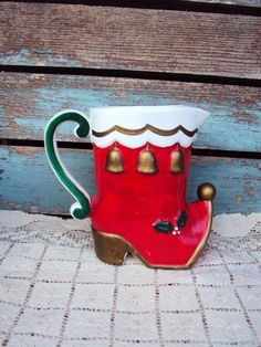 Vintage Christmas Stocking Boot Pitcher by primitivepincushion