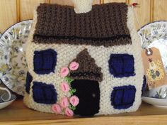 Hand Knitted  Tea Cozy   Country Cottage with pink  by bythemill