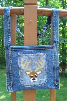 Deer head recycled denim jean cross body hip by BackPocketDesign