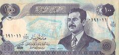 Anverso del billete de 250 dinares, con la efigie de Sadam Hussein. Ya no valen estos billetes.
