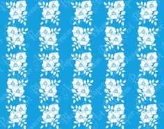 Blue Flowers  Digital Patterned Paper  by blossompaperart on Etsy, $1.30
