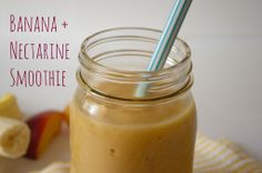 Banana Nectarine Smoothie - uses frozen bananas instead of ice! More nutrition, more creamy!