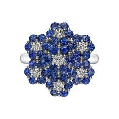 Betteridge Collection ~ Sapphire and Diamond Foliate Cluster Ring