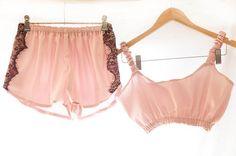 Cherie Pink Satin Sleep Set Old Parisian Glamour
