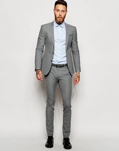ASOS Super Skinny Suit in Salt and Pepper | Groom's look ...