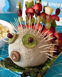 Fun food ideas for a summer party..melon fish