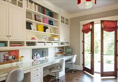 Study. Kids Study Design. The kids can learn in an organized way in this study. Cabinets are painted in Benjamin Moore White Dove OC17 #Study #HomeOffice #BenjaminMooreOC17