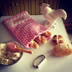 Fresh bread for the cute bread bag :)