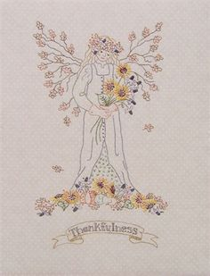 'Thankfulness' - a series of angels that are just as lovely without the words - you could give them a Christmas makeover.