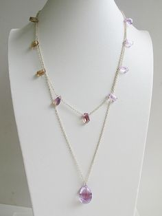 Natural faceted ametrine with amethyst teardrop necklace, double layers 925 sterling silver necklace, summer jewelry, FREE shipping