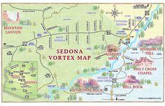 Vortex Map of Sedona AZ from The Call of Sedona - USA Destinations Sedona Vortex, Sedona Arizona, Tempe Arizona, Visit Sedona, Arizona Travel, Arizona Trip, Arizona State, Camping Life, Travel