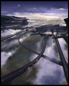 Futuristic Mega-Structure World by Lorenz Hideyoshi Ruwwe. |CutPasteStudio| Illustrations, Entertainment, beautiful,creativity, Art,Artist,Artwork, drawings, Paintings, digital painting technology.