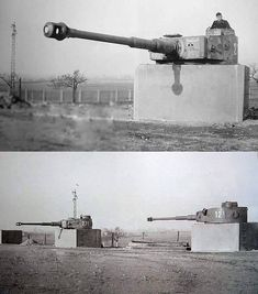 Tiger tank gunnery school in Putlos, Germany. Tiger I turrets were mounted to concrete emplacements in place of a full tank chassis. This was done as a wartime measure. German Soldiers Ww2, German Army, World Of Tanks, Tiger Tank, Tank Destroyer, Military Pictures, Ww2 Pictures, Ww2 Tanks, Germany