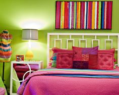 striped canvas over bed