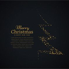 Dark background with a golden christmas tree Free Vector Christmas Feeling, Christmas Art, Holiday Gift Guide, Holiday Cards, New Month Wishes, Red Christmas Background, Minimal Graphic Design, Email Design Inspiration, New Year Banner
