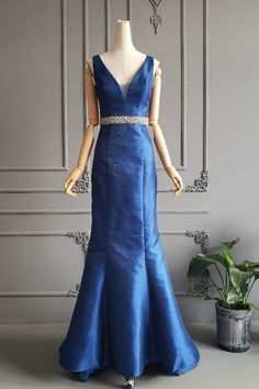 Stunning Mermaid Long Royal Blue Beaded Prom Party Dress Illusion Neckline Open Back Winter Prom Dresses, Royal Blue Prom Dresses, Prom Party Dresses, Formal Dresses, Orange Blush, Purple Grey, Illusion Dress, Illusion Neckline, Prom Dresses Online