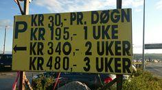 Parking price sign