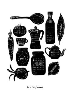 Black and white graphic illustration *Detailed 2012 Calendar - Anek Kitchen Art Print Gravure Illustration, Illustration Art, 2012 Calendar, Food Calendar, Creative Calendar, Calendar Time, Calendar Ideas, Yearly Calendar, Kalender Design