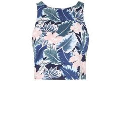 Blue Sleeveless Tropical Print Crop Top