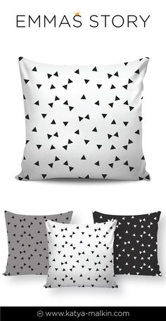 Black and white geometric pillow is a great addition to gender-neutral nursery decor. See more gender-neutral nursery ideas here: http://etsy.me/2CNMDKV #genderreveal #nurserydecor #nursery #nurseryideas #blackwhite #geometric #monochrome #pillows #homedecor #triangle