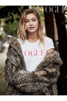 $10 - $100 Leopard Print Furry Fluffy Oversized Coat With Cute Plain White Tee Red Vogue Logo Beautiful Gigi Hadid Celebrity Style