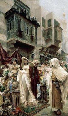 The Slave Market / Fabio Fabbi (Italian Painter, 1861-1946)