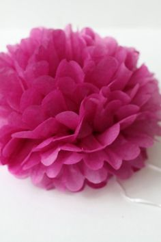 Fuchsia Pink Paper Pom with How To