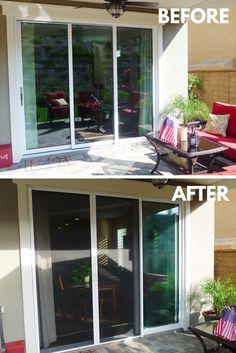 glass double doors with a stowaway retractable screen door