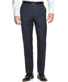 Ryan Seacrest Distinction Blue Plaid Slim-Fit Pants