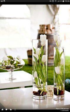 spring-like decoration-for-the-table white-tulips glass vase .- frühlingshafte dekoration-für den-tisch weiße-tulpen Glasvase spring decoration – for the table white tulips glass vase - Tulpen Arrangements, Floral Arrangements, Table Arrangements, Deco Floral, Floral Design, Vase Haut, Wedding Centerpieces, Wedding Decorations, Simple Centerpieces