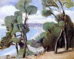 The Beach at Nice, View from the Château, 1918 (Henri Matisse). Henri Matisse, Matisse Art, Matisse Paintings, Picasso Paintings, Pablo Picasso, Abstract Landscape, Landscape Paintings, Abstract Oil, Abstract Paintings