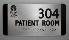 Hospital ADA Braille Sign with logo on brushed aluminum acrylic