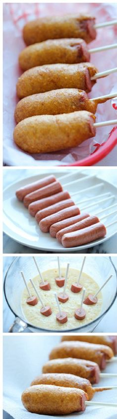 Easy Homemade Mini Corn Dogs - The easiest corn dogs you will ever make! Perfect as an after-school snack, game-day appetizer or even a quick dinner! This is the recipe for corn dogs that I've r sten since the grade. I Love Food, Good Food, Yummy Food, Fun Food, Tapas, School Snacks For Kids, School Snacks For Kindergarten, Snacks For Toddlers, Fun Dinners For Kids