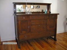 Arts And Crafts Mission Style Mirrored Buffet Console Cabinet 1900-1950 photo