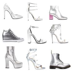 """Silver Metallic Shoes"" by claire394 ❤ liked on Polyvore featuring Yves Saint Laurent, Qupid, Marchesa, Steve Madden, Dr. Martens, Converse and Dsquared2"