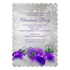 Christmas Holiday Party Invitation. Elegant Purple Silver, gold & baubles with gold sparkle glitter on a silver snowflake background. Please Note: All flat images!