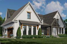 Modern Farmhouse Exterior, Farmhouse Design, Farmhouse Style, Tudor House Exterior, Best House Plans, House Colors, Future House, Building A House, Square Feet