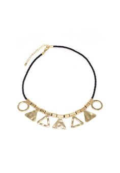 Triangle and Circle Necklace - Gold