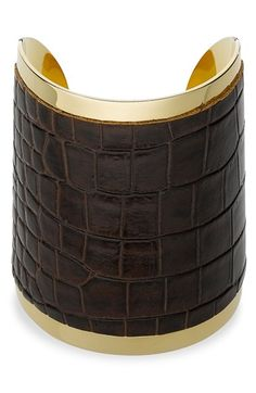 Michael Kors Large Embossed Leather Cuff
