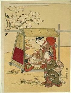 Suzuki Harunobu   Japanese, 1724-1770, A Beauty Resting in a Palanquin beneath Cherry Blossoms