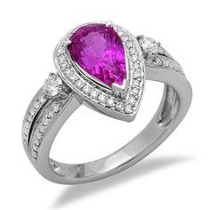 Pear Cut Pink Sapphire Diamond Gemstone Ring in White Gold