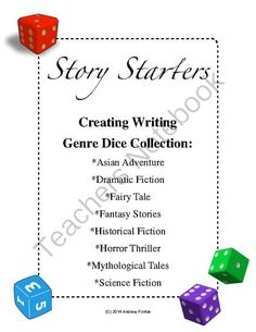 Story Starters - 8 Genres Dice Collection - Make your own story dice from Velerion Damarke on TeachersNotebook.com -  (40 pages)  - Story starters are a fun way to write. These dice feature common  themes from horror thrillers, on different jumbo dice. Assemble the dice, roll them, and use them to decide what kind of characters, plot elements, items, or settings to use in your stories