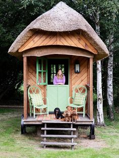 Kit Kemp's Shepherd's Hut Thatched Roof Cavalier King Charles Spaniels