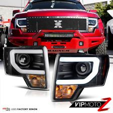 Exclusive 09 14 Ford F150 Chrome Raptor Style Halo Led Strip Projector Headlight Projector Headlights Ford F150 Led Halos