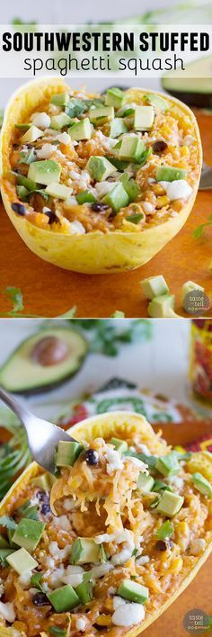 Southwestern Stuffed Spaghetti Squash - This Southwestern inspired stuffed spaghetti squash is a great way to change things up for a meatless meal during the week. It's easy and fast and good for you!