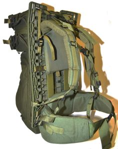 "Canadian Army Pack Board w/bags - manufactured in 1998-2001 to carry items for the ERYX system, 25.5"" x 14.5"" x 1/2"""