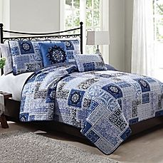 image of Seychelle 5-Piece Quilt Set in Navy