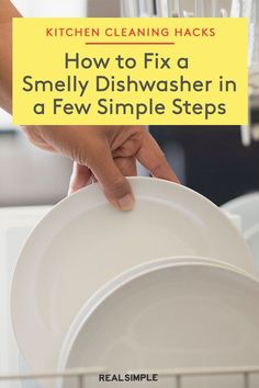 How to Fix a Smelly Dishwasher | Your dishwasher can be a dumping ground for old food and gross build-up if you don't take a minute to give it a deep clean now and again. A home cleaning expert shares how to deodorize your dishwasher for good. #organizationtips #realsimple #howtoclean #cleaningtips #cleaninghacks Car Cleaning Hacks, Deep Cleaning, Laundry Hacks, Clean Dishwasher, Clean Freak, Tidy Up, Real Simple, Organization, Organizing