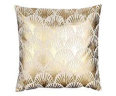 Cuscino arredo in cotone Leaves crema/oro - 45x45 cm
