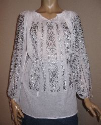 Hand embroidered Romanian blouse - gray silk hand embroidery